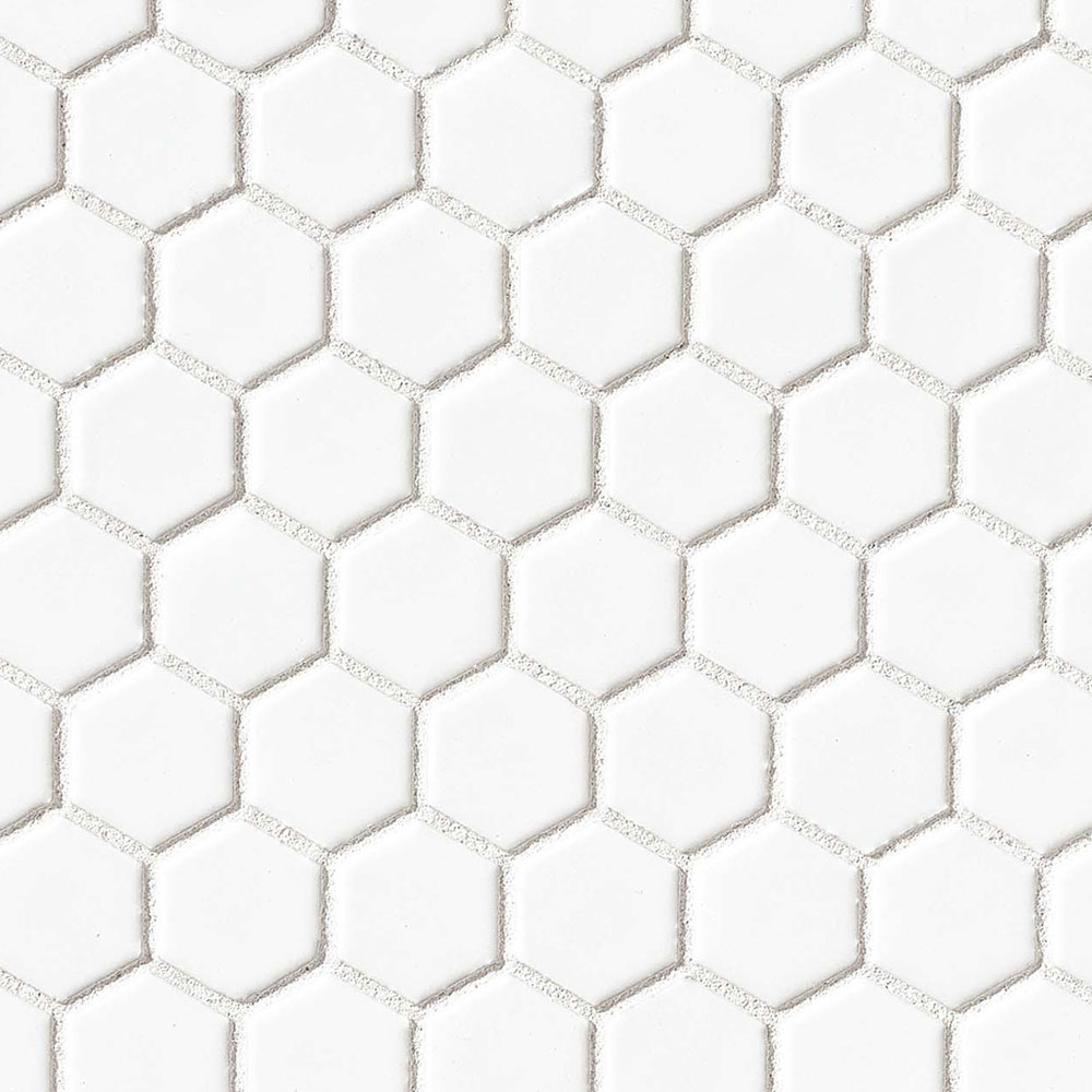 Bedrosians Le Cafe Mosaic Hexagon 2 X 2 White Glossy