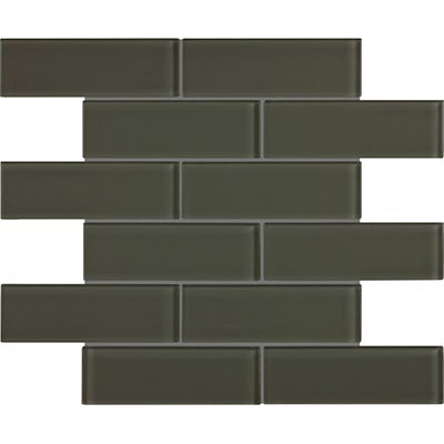 Chesapeake Flooring Essentials Glass Mosaic Brick 2 x 6 Carbon