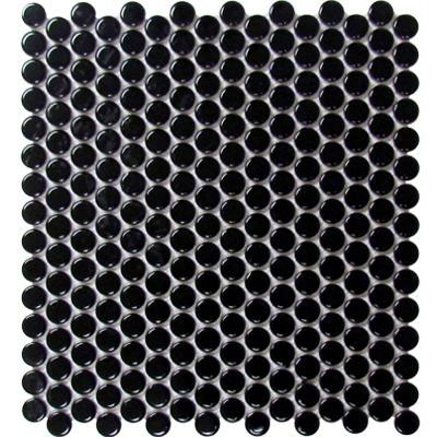 Chesapeake Flooring Glazed Porcelain Penny Rounds Mosaics Black Gloss