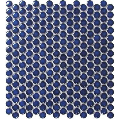 Chesapeake Flooring Glazed Porcelain Penny Rounds Mosaics Cobalt Blue Gloss