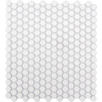 Chesapeake Flooring Glazed Porcelain Penny Rounds Mosaics White Matte