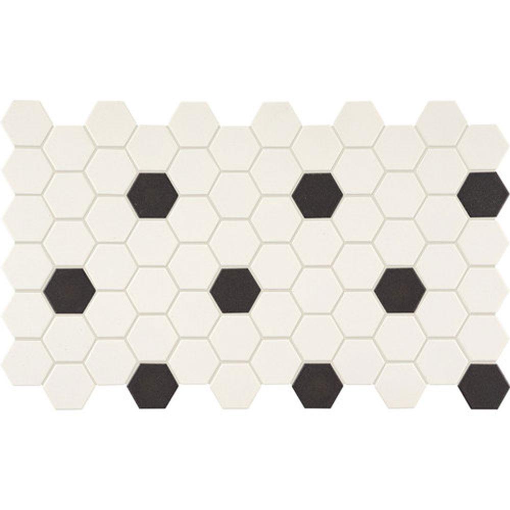 Daltile Keystones Blends Hexagon White With Black Dots 2 X