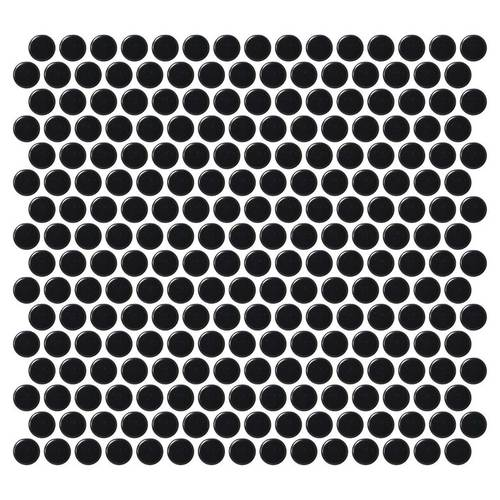 Daltile Retro Round Mosaics 1 X 1 Matte Canvas Black