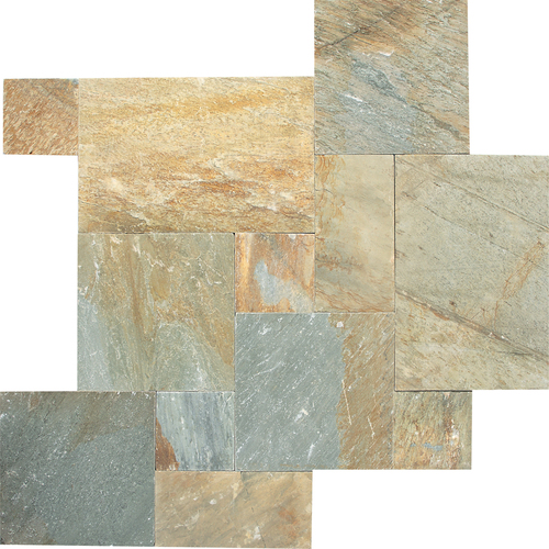 Daltile Slate Collection Versailles Pattern Mosaic Golden Sun