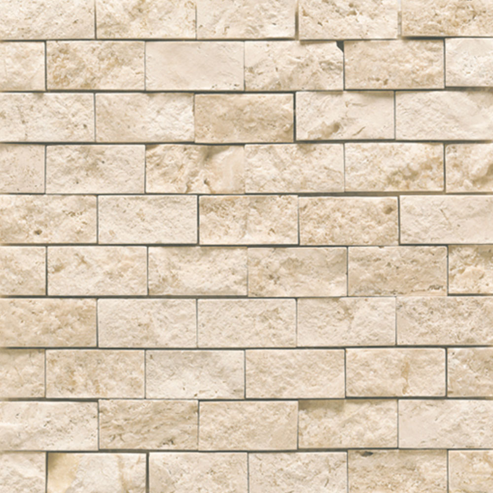 Daltile Travertine Natural Stone Mosaic Split Face Baja Cream