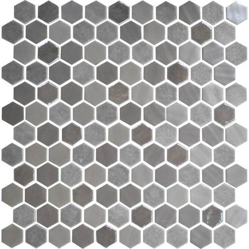Daltile Uptown Glass Mosaics Hexagon Frost Moka Wall