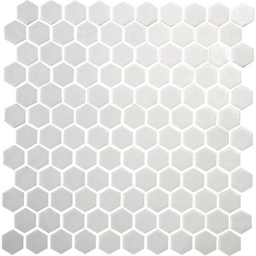 Daltile Uptown Glass Mosaics Hexagon Matte Alabaster Floor