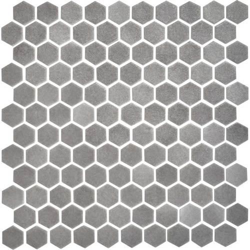 Daltile Uptown Glass Mosaics Hexagon Matte Frost Moka Floor