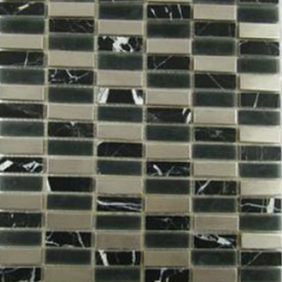 Impact 5/8 Stacked Glass & Stone & Metal Mosaic Midnight