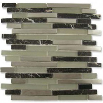 Diamond Tech Glass Impact 5/8 Staggered Glass & Stone & Metal Mosaic French Roast Staggered