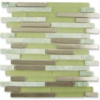 Diamond Tech Glass Impact 5/8 Staggered Glass & Stone & Metal Mosaic Green Tea Staggered