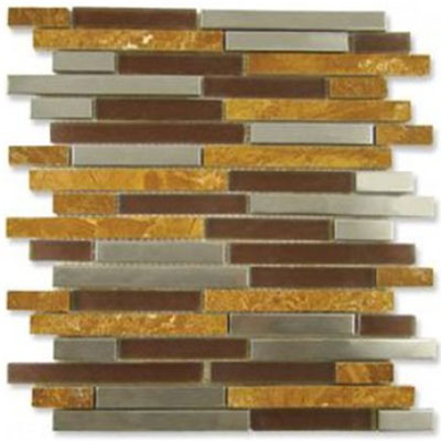 Diamond Tech Glass Impact 5/8 Staggered Glass & Stone & Metal Mosaic Parchment Staggered