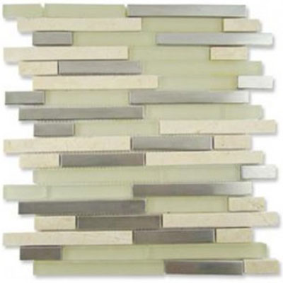 Diamond Tech Glass Impact 5/8 Staggered Glass & Stone & Metal Mosaic Cirrus Staggered