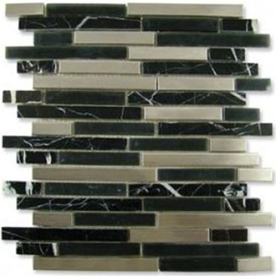 Diamond Tech Glass Impact 5/8 Staggered Glass & Stone & Metal Mosaic Midnight Staggered