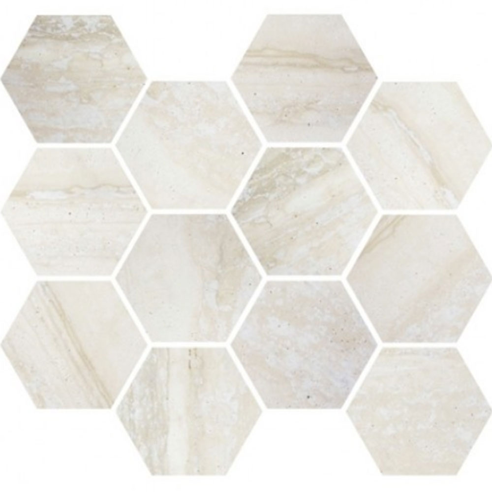 Eleganza Tiles Nova Moderne Mosaic Hexagon Bone Blend