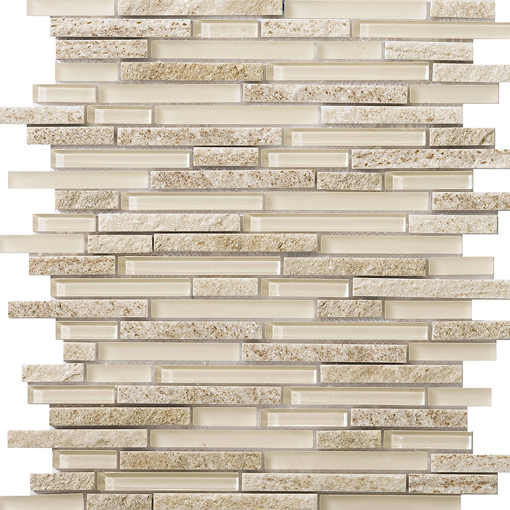 Sample Rustic Copper Linear Natural Slate Blend Mosaic: Emser Tile Lucente Glass And Stone Linear Mosaic Blend Servolo