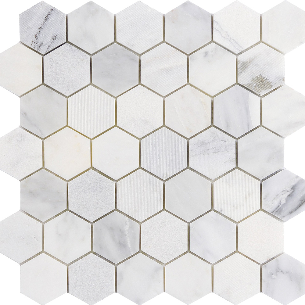 Emser Tile Marble Hexagon Mix 2 X 2 Mosaic Winter Frost