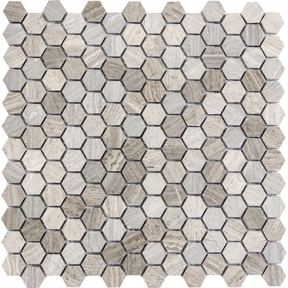 Emser Tile Metro Hexagon Mix 1 X 1 Mosaic Gray