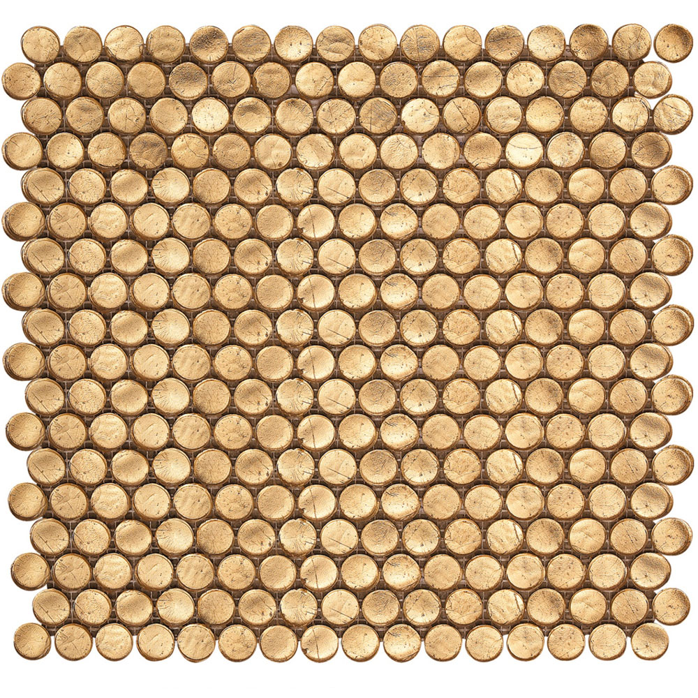 Interceramic Interglass Penny Round Mosaic Gold