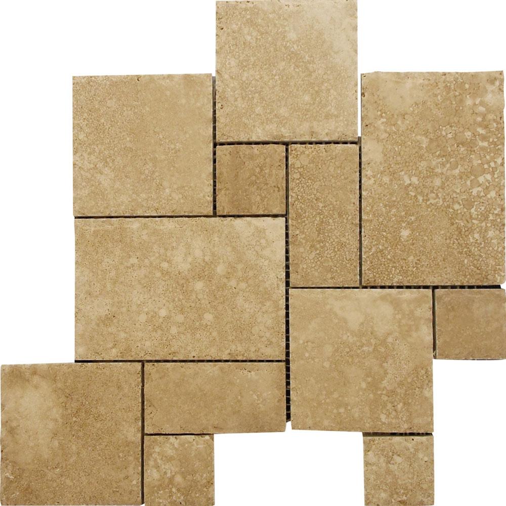 Interceramic Mexican Travertine Versailles Pattern Mosaic Travertino Caramel