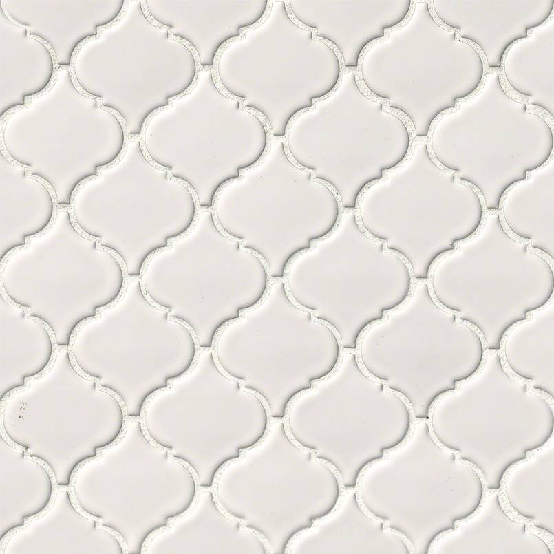 MS International Domino Arabesque Mosaics White