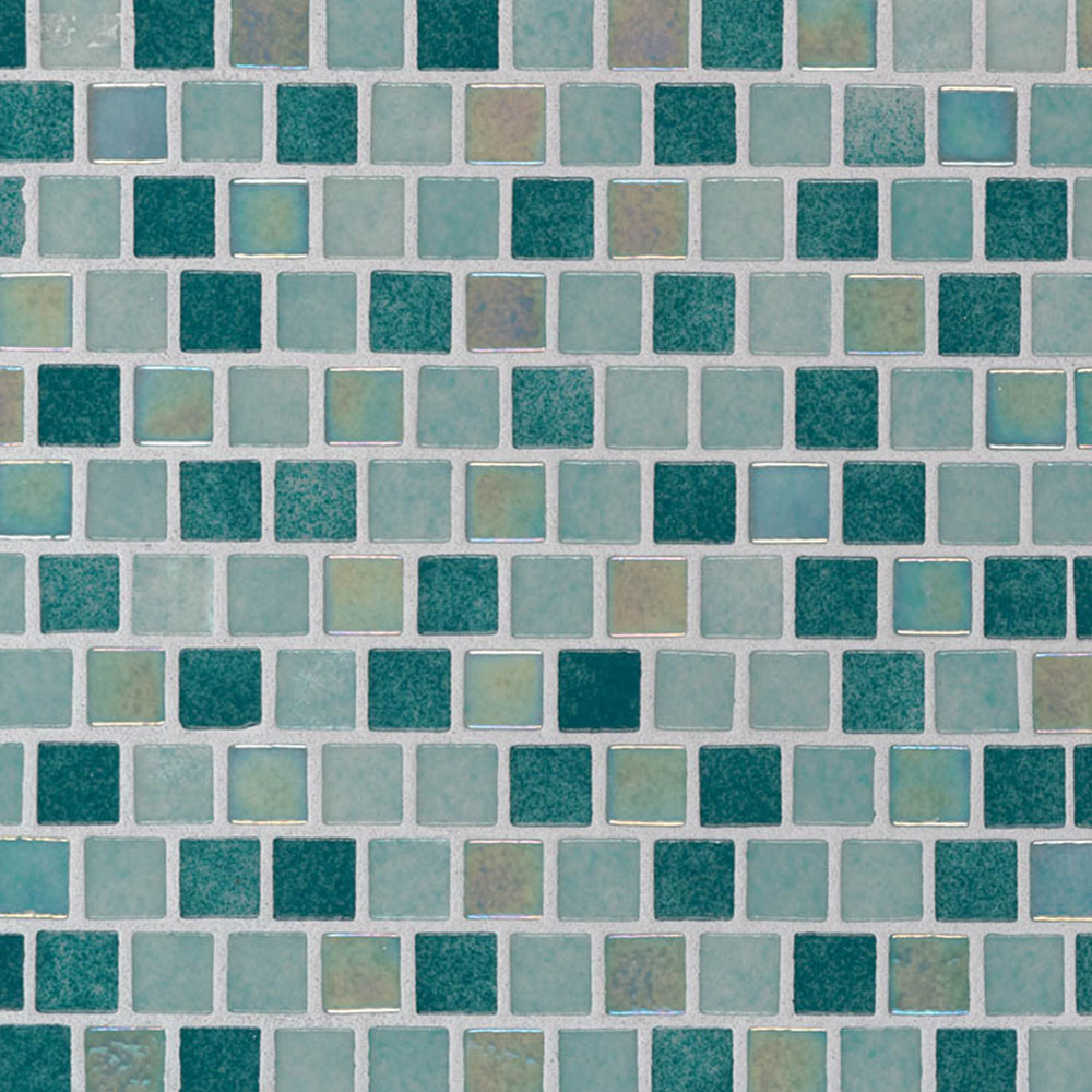 MS International Glass Mosaic 1 x 1 Staggered Carribean Jade
