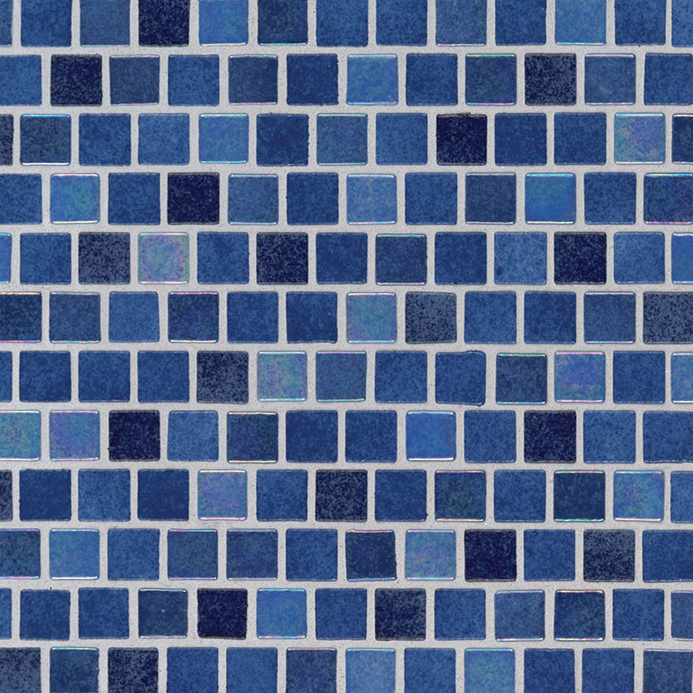 MS International Glass Mosaic 1 x 1 Staggered Hawaiian Blue
