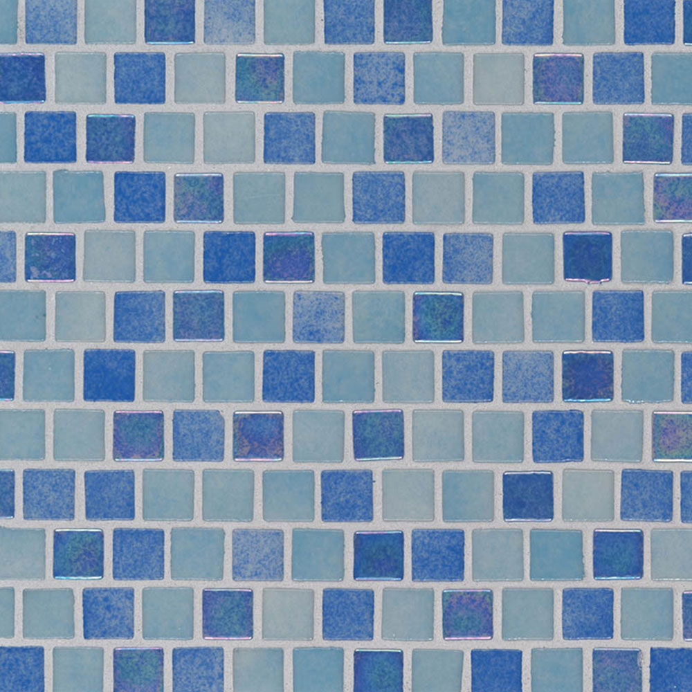 MS International Glass Mosaic 1 x 1 Staggered Hawaiian Coast