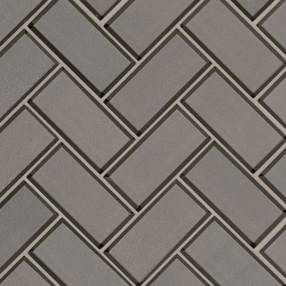 MS International Glass Mosaic Herringbone Champagne
