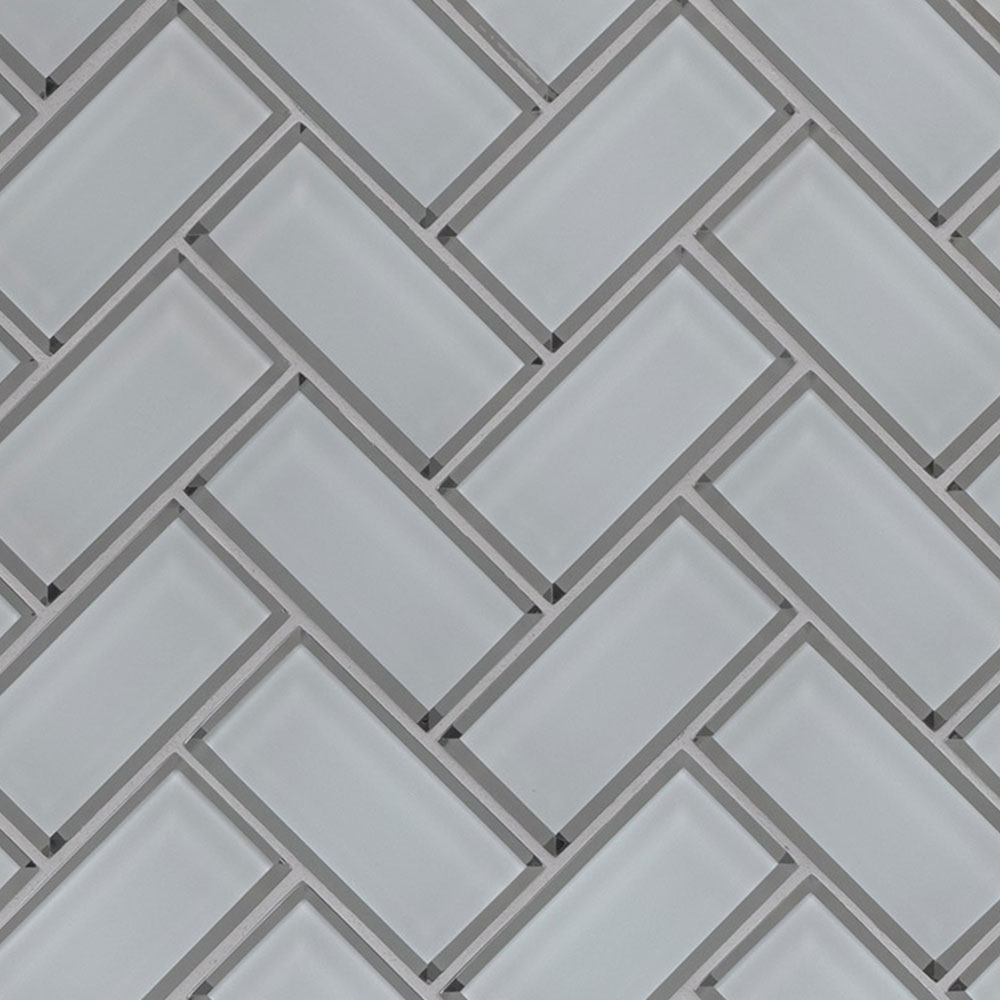 MS International Glass Mosaic Herringbone Ice