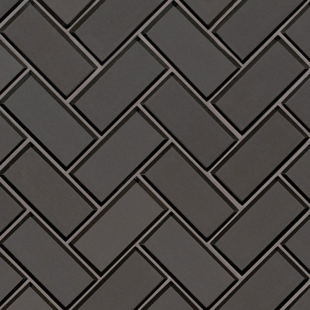 MS International Glass Mosaic Herringbone Metallic