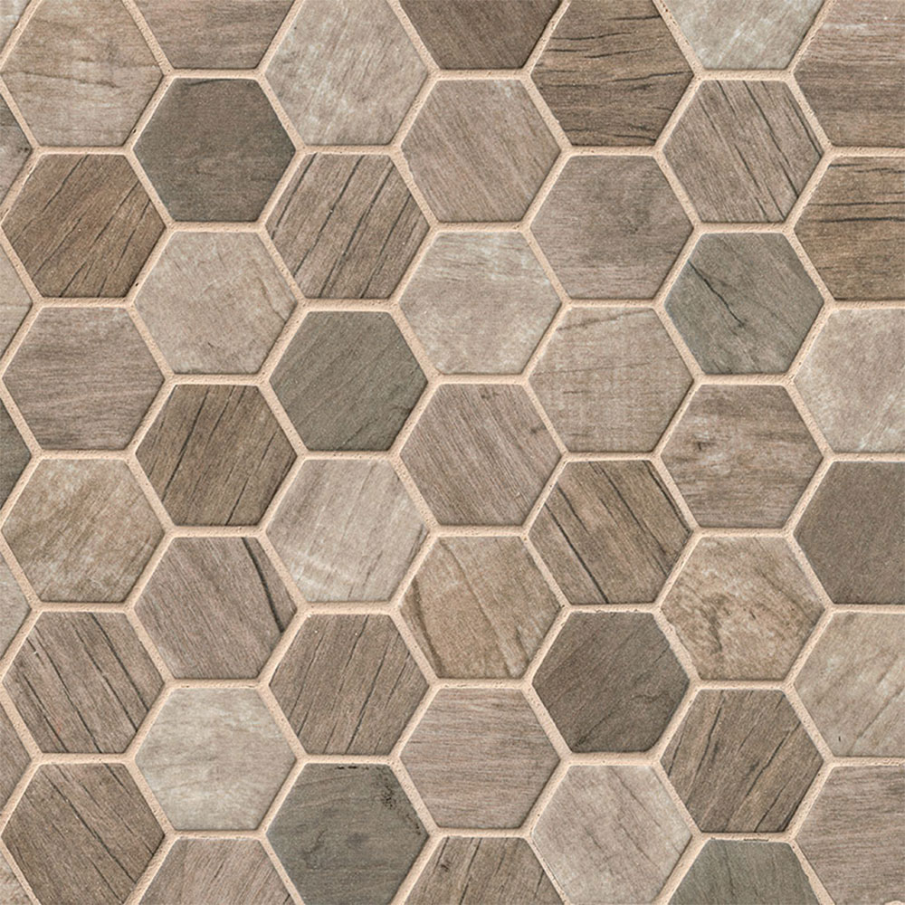 Ms International Glass Mosaic Hexagon Driftwood
