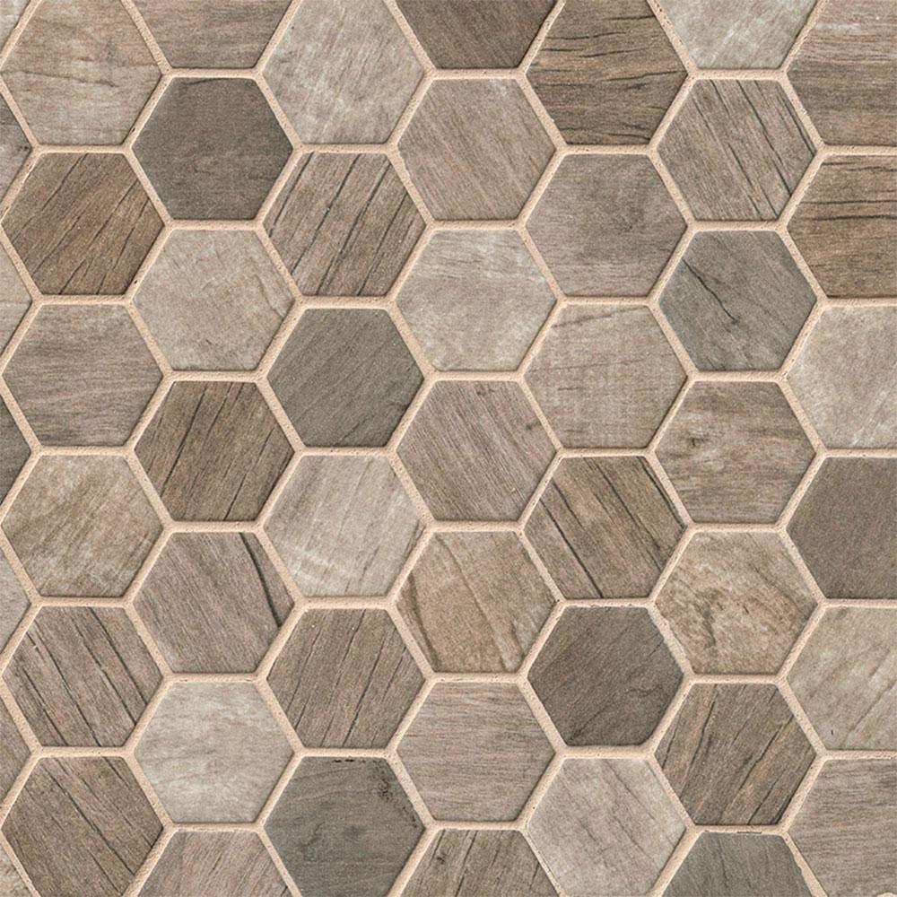 Ms International Glass Mosaic Hexagon Driftwood