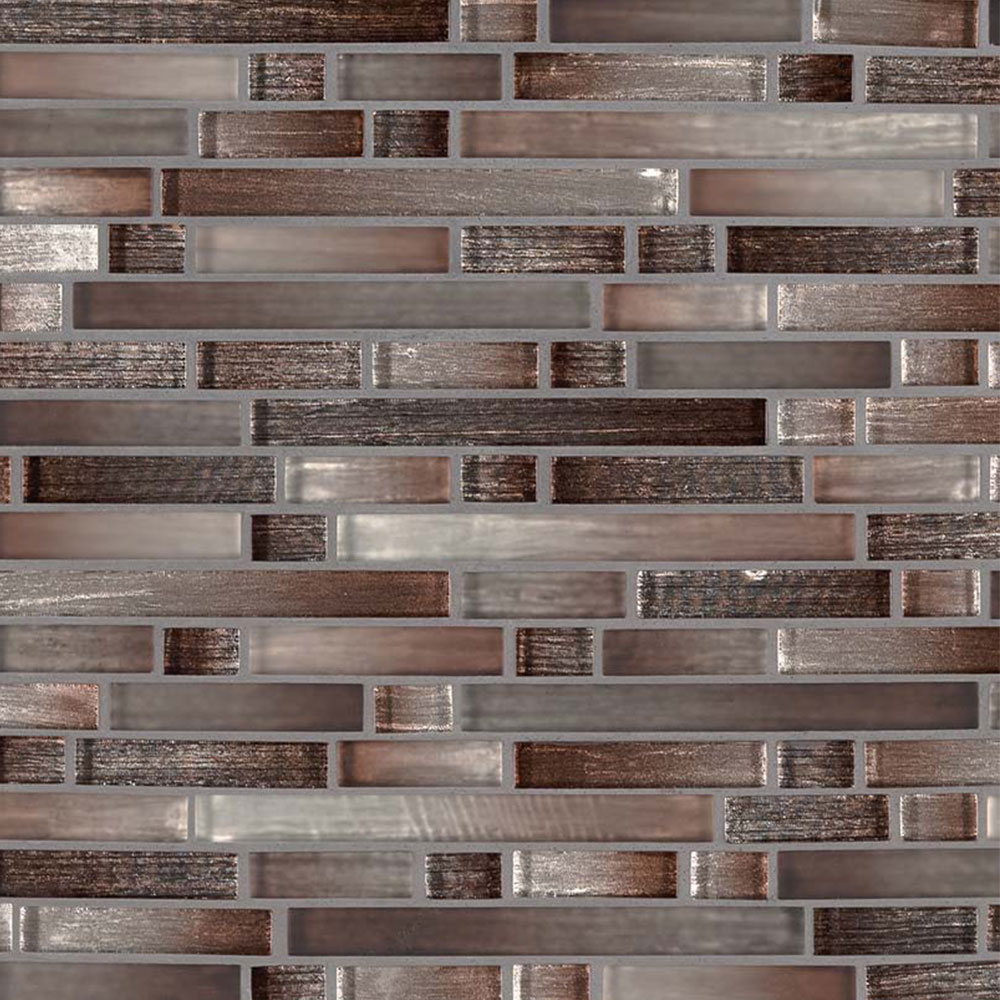 MS International Glass Mosaic Interlocking 12 x 12 Akaya Copper