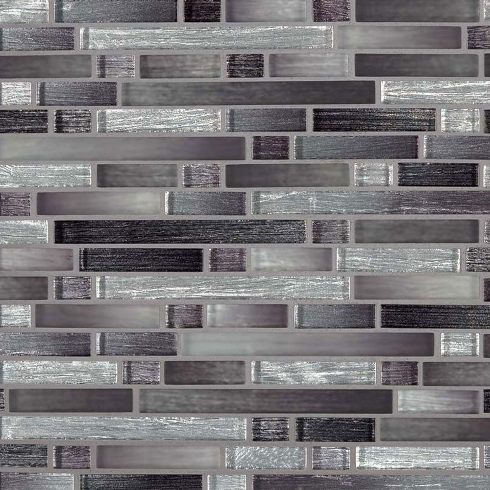 MS International Glass Mosaic Interlocking 12 x 12 Akaya Nero