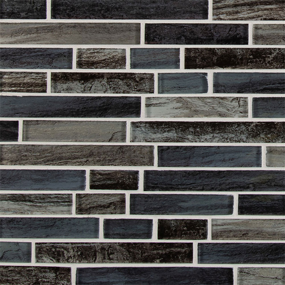 MS International Glass Mosaic Interlocking 12 x 12 Grigio Lagoon
