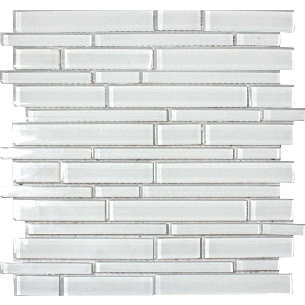 MS International Glass Mosaic Interlocking 12 x 12 Ice