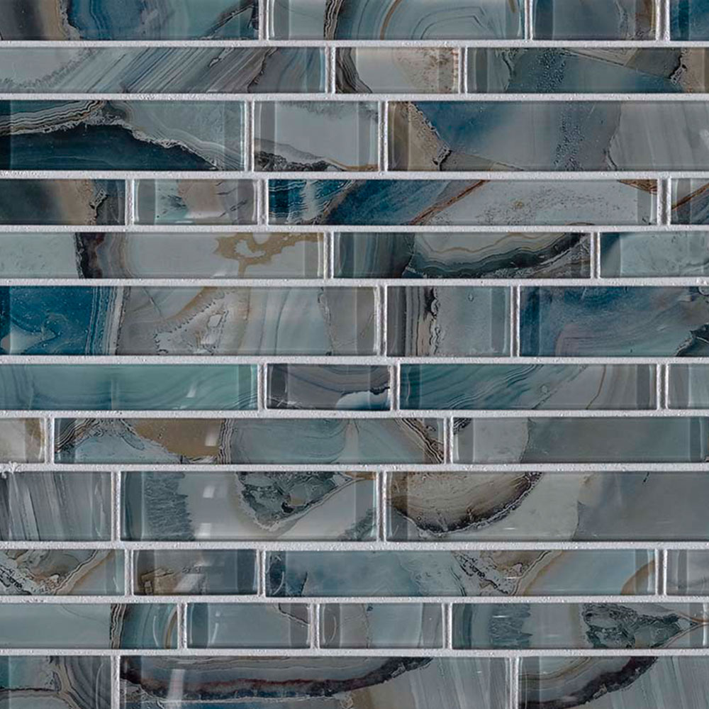 MS International Glass Mosaic Interlocking 12 x 12 Night Sky