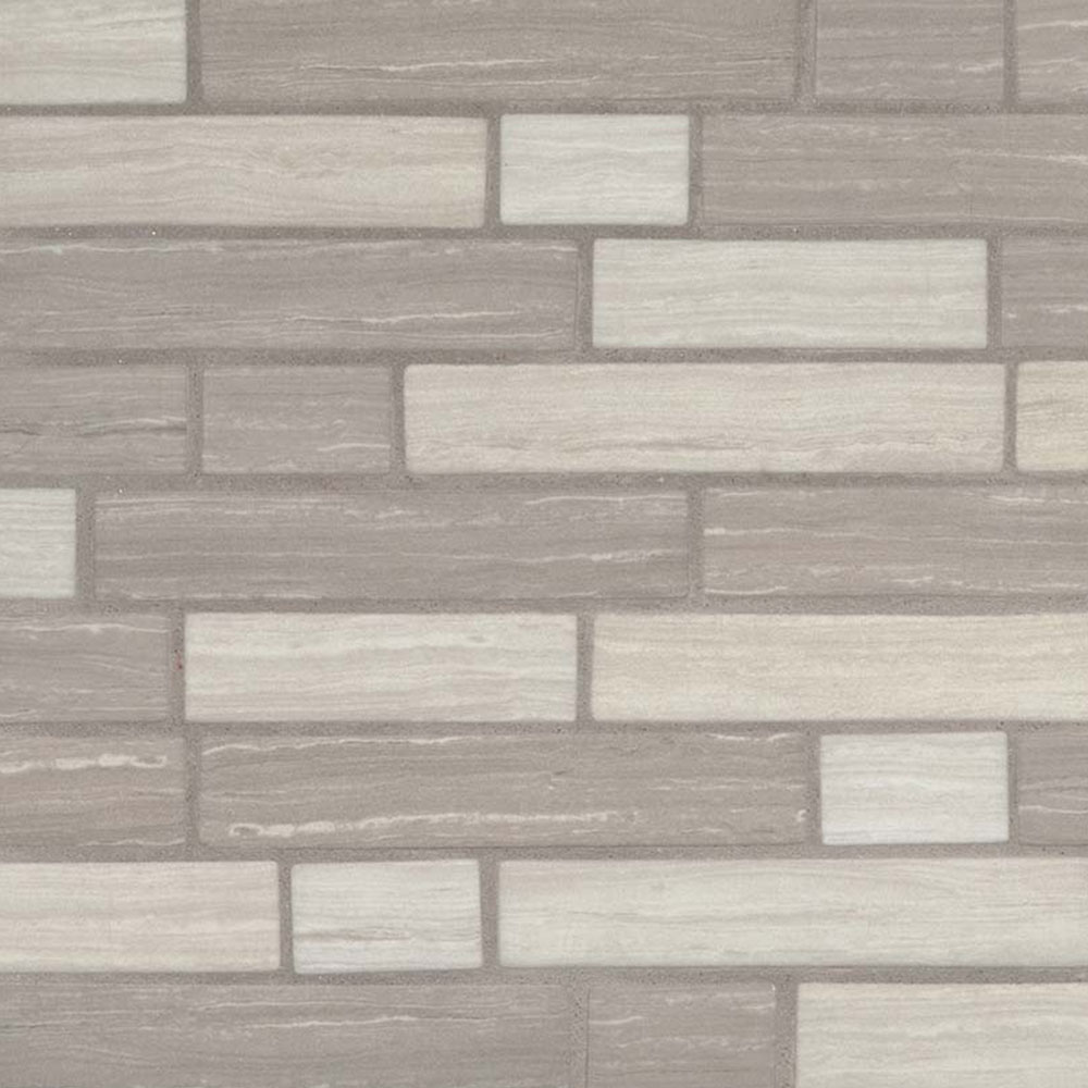 MS International Glass Mosaic Interlocking 12 x 12 Silva Oak