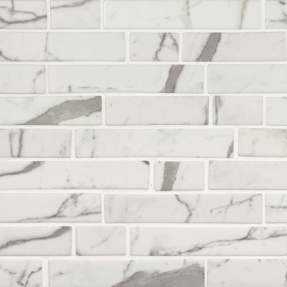 MS International Glass Mosaic Interlocking 12 x 12 Statuario Celano