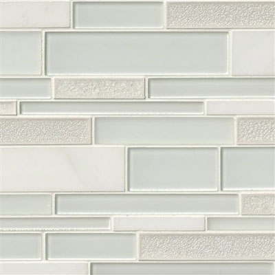 MS International Decorative Blends Mosaic Interlocking 12 x 18 Fantasia Blanco