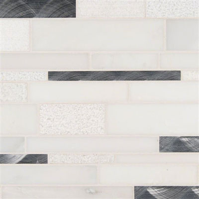 MS International Decorative Blends Mosaic Interlocking 12 x 18 Moderno Blanco