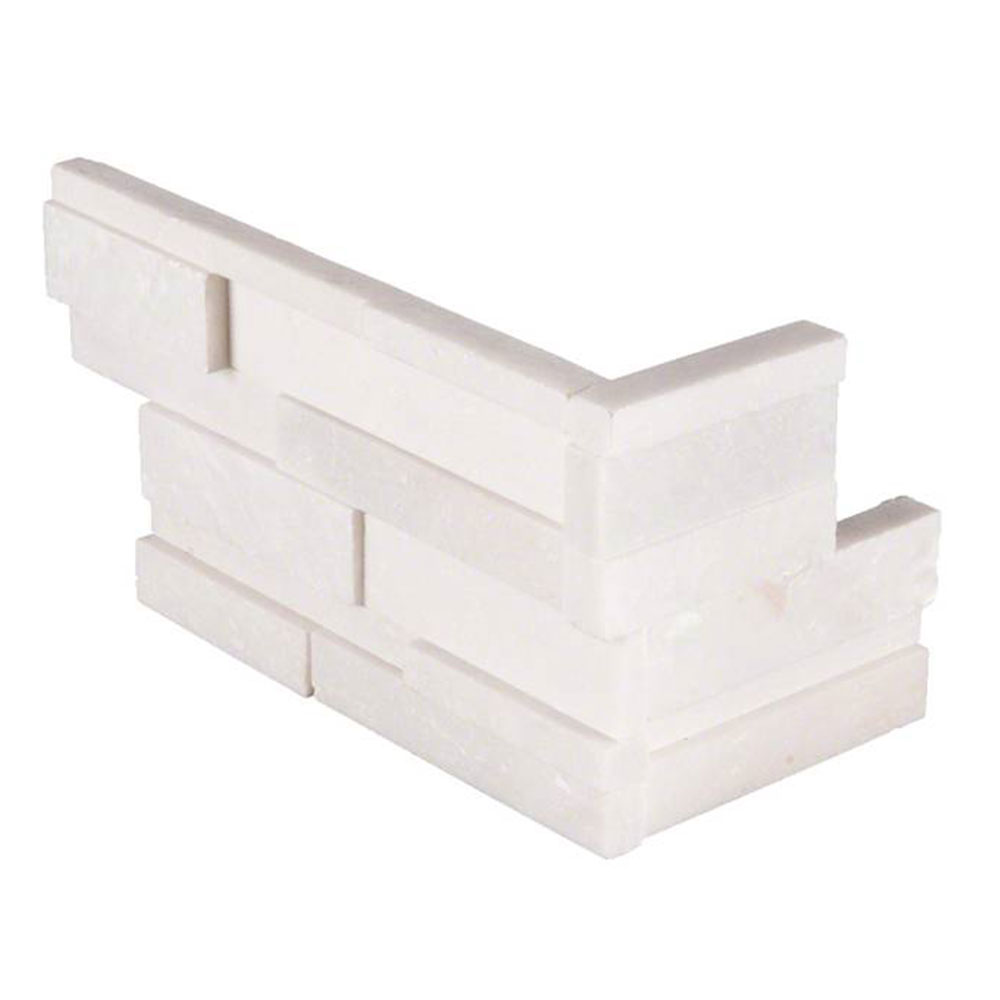 MS International RockMount Stacked Stone L Corner 3D 6 X 12 x 6 Arctic White