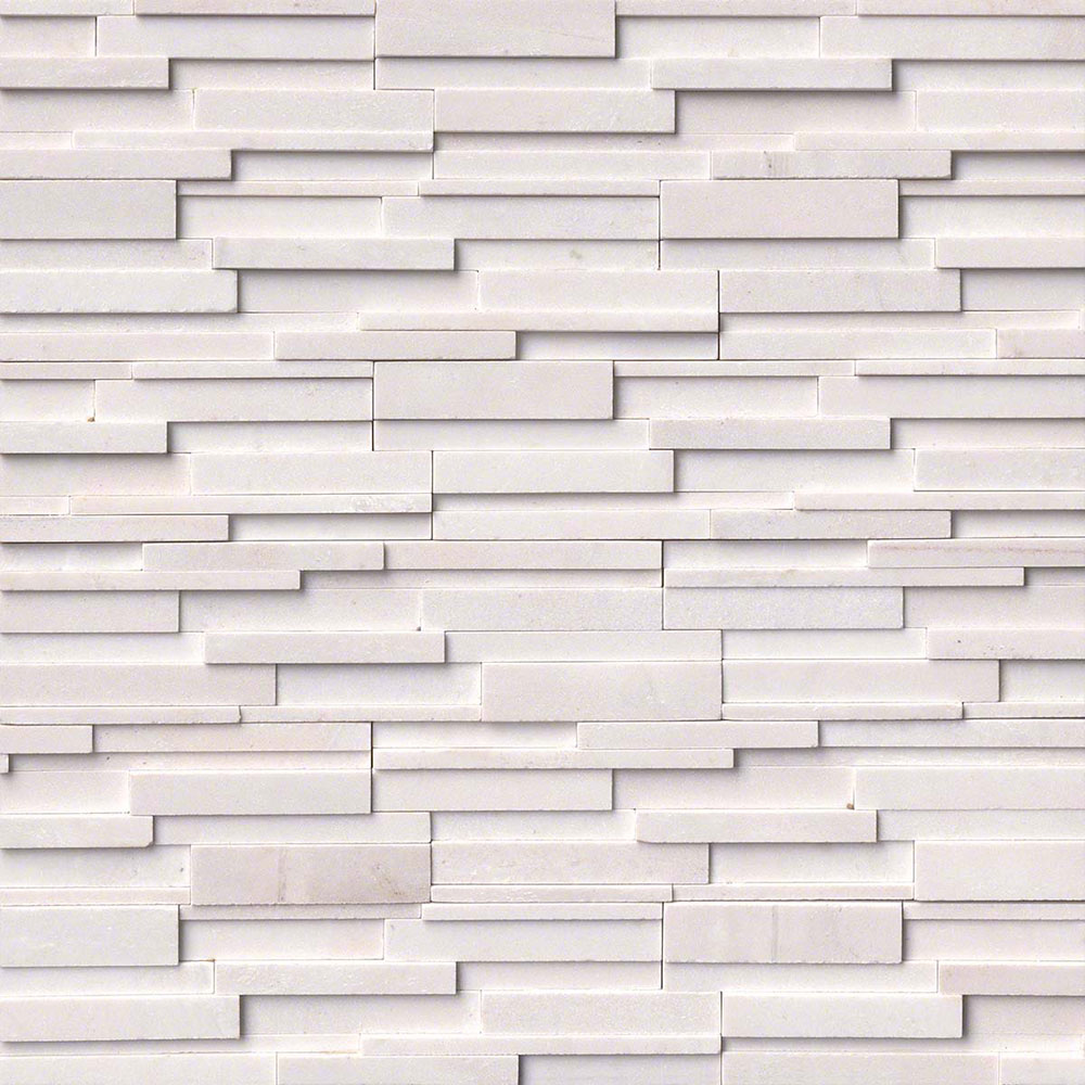 MS International RockMount Stacked Stone Panels 3D 6 X 24 Arctic White