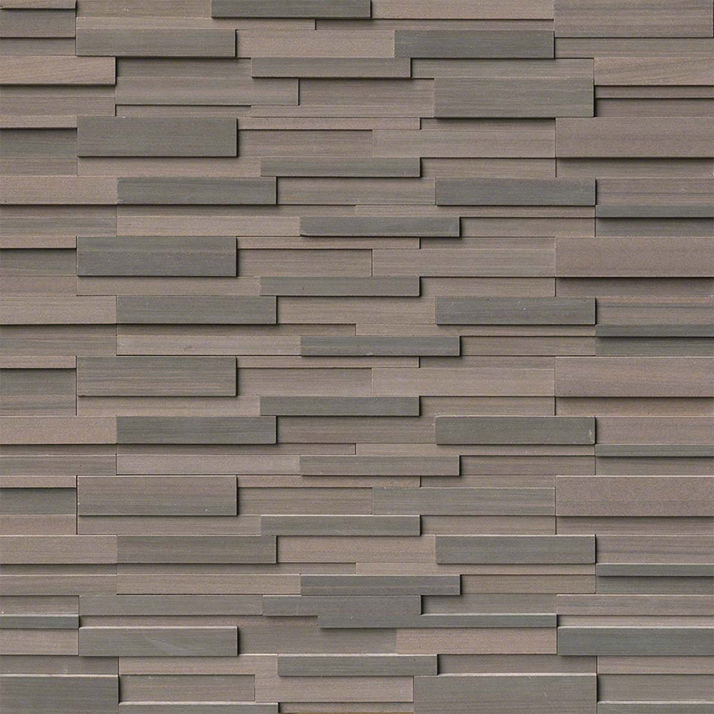 MS International RockMount Stacked Stone Panels 3D 6 X 24 Brown Wave