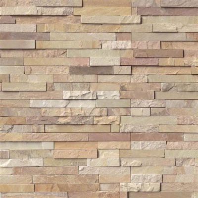 MS International RockMount Stacked Stone Panels 6 X 24 Fossil Rustic