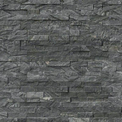 MS International RockMount Stacked Stone Panels 6 X 24 Glacial Black