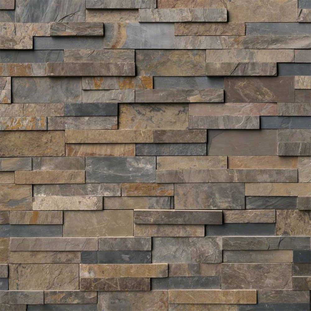 MS International RockMount Stacked Stone Panels 6 X 24 Rustic Gold
