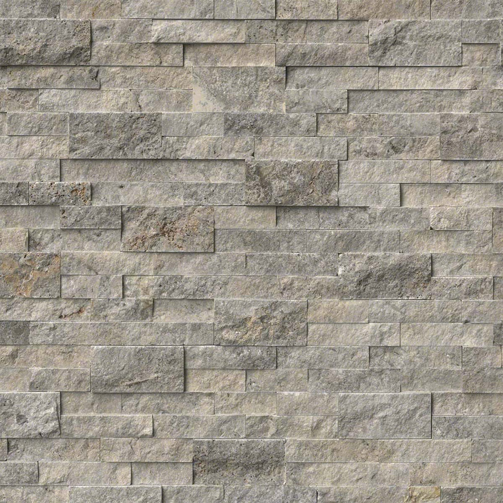 MS International RockMount Stacked Stone Panels 6 X 24 Silver Travertine
