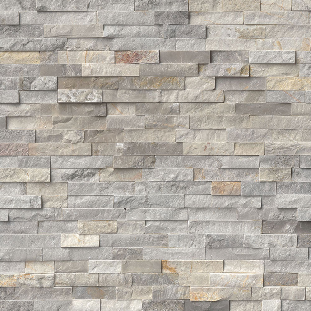 MS International RockMount Stacked Stone Panels 6 X 24 Sunset Silver